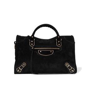 Balenciaga classic metallic edge suede city bag